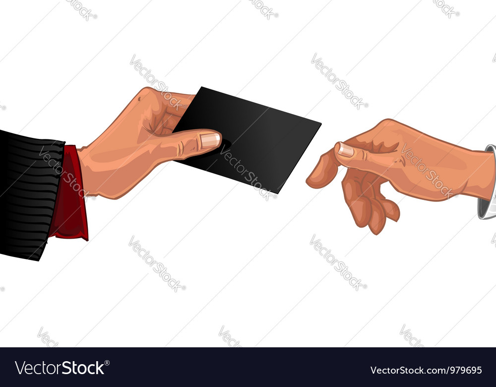 Male hand pass black business card to other male Vector Image