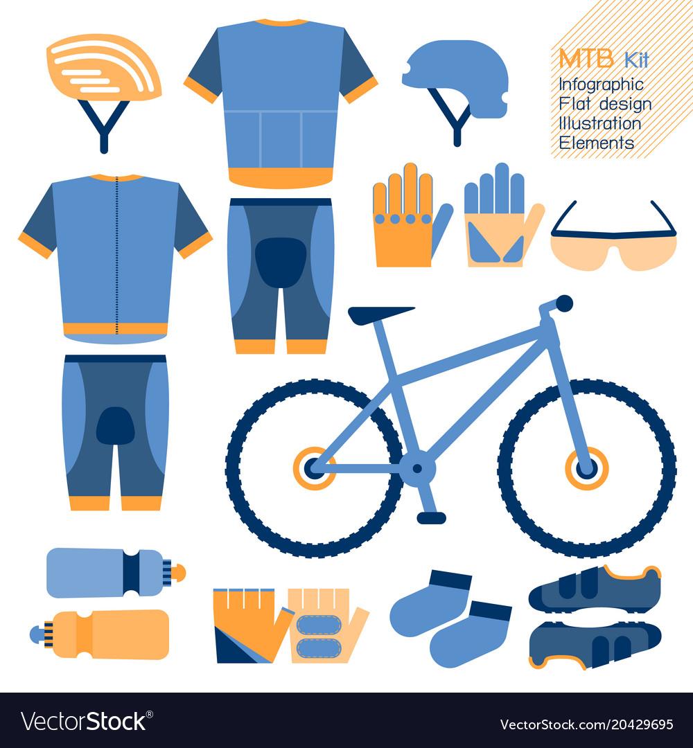 Mountain bike kit infographic element