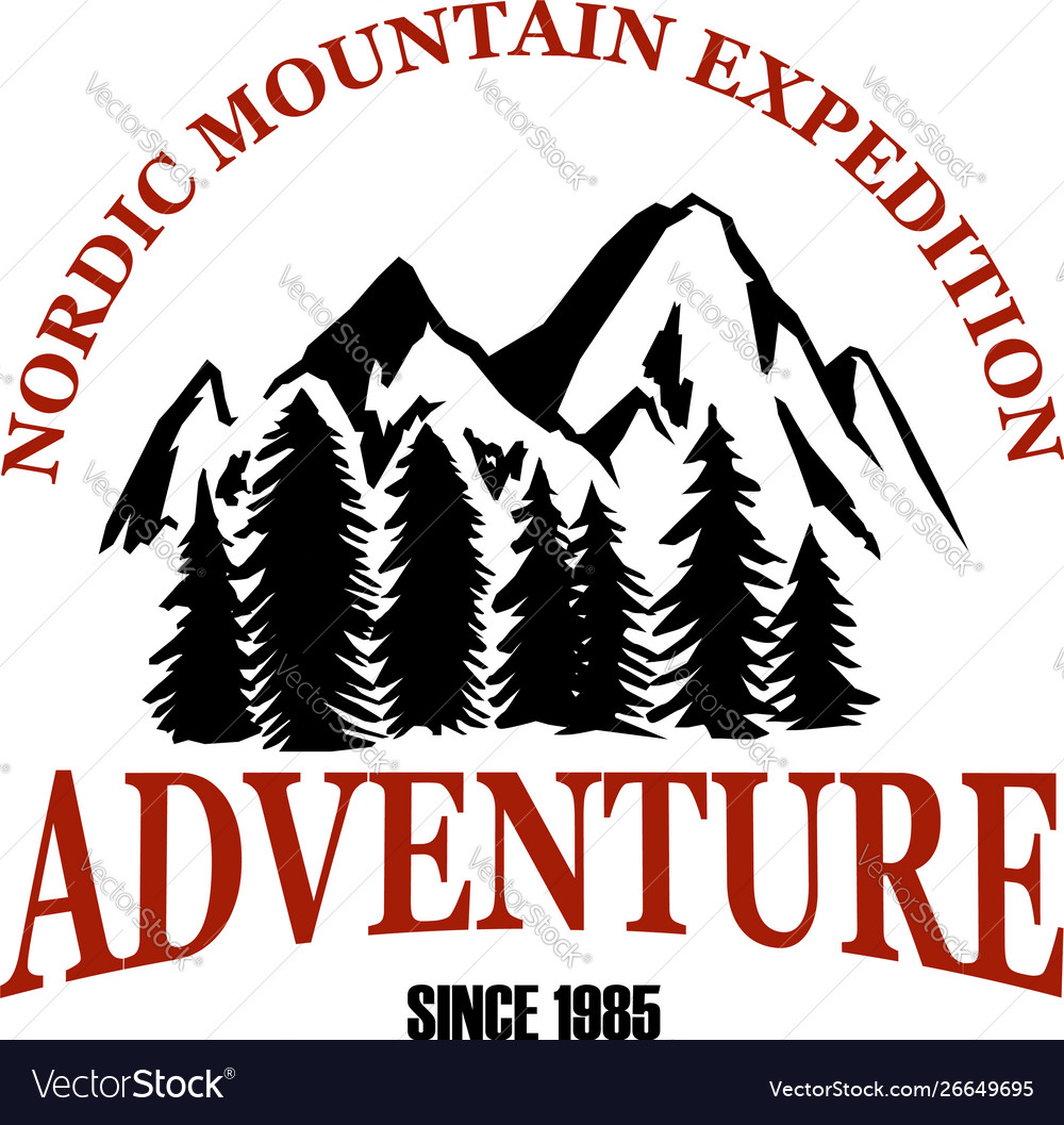 Mountain camp emblem template design element for