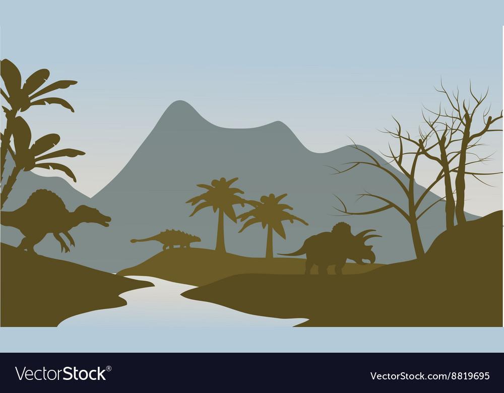 Silhouette of dinosaur in riverbank