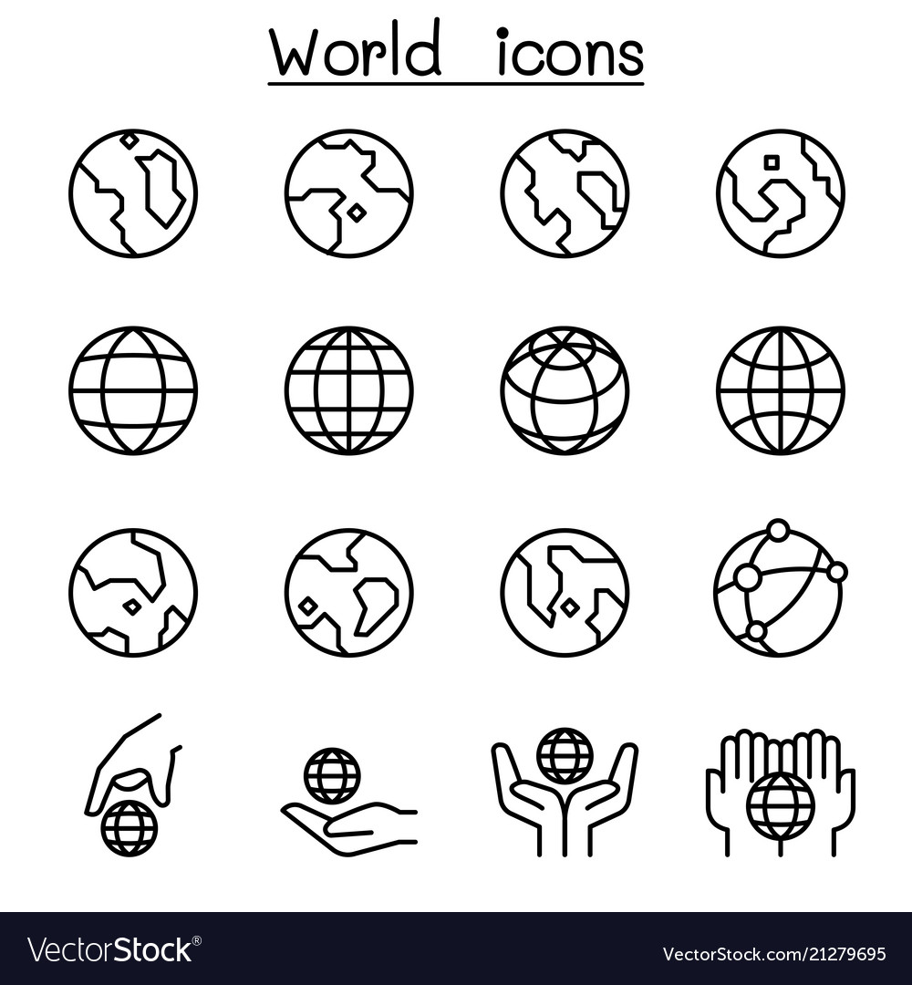 World earth icon set in thin line style