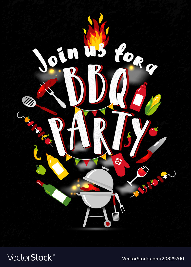 Bbq party invitation on black background with