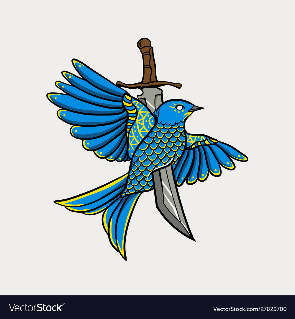 Bird stabbed with a sword