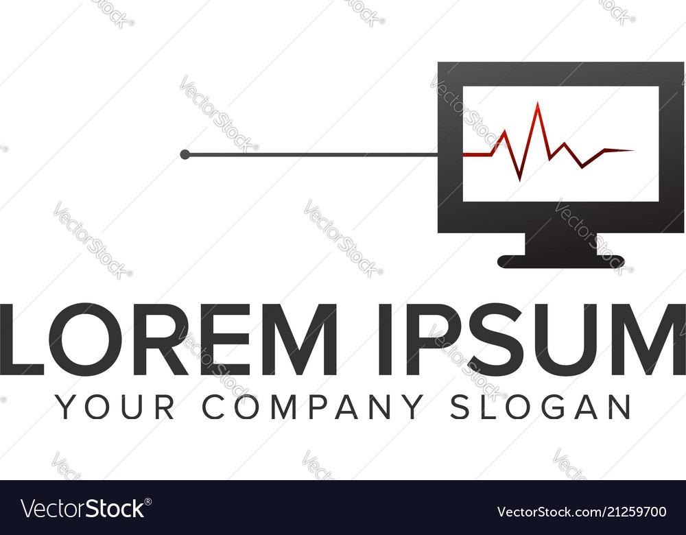 Computer diagnosis logo design concept template