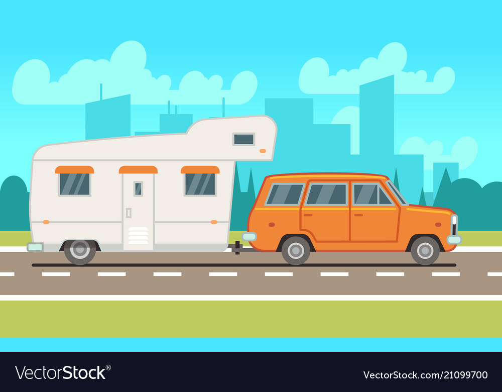 Family rv camping trailer on road country