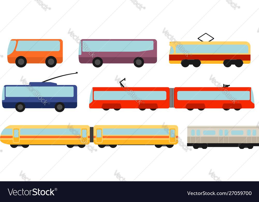 Flat style public transport set