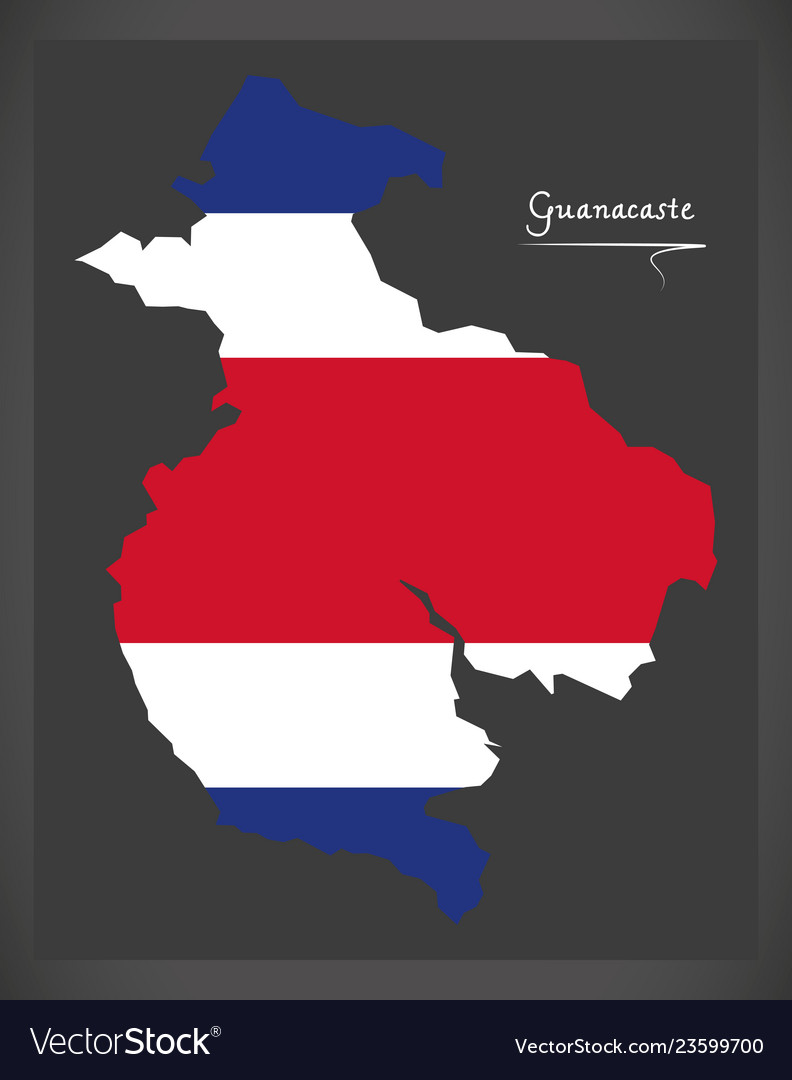 Guanacaste map of costa rica with national flag