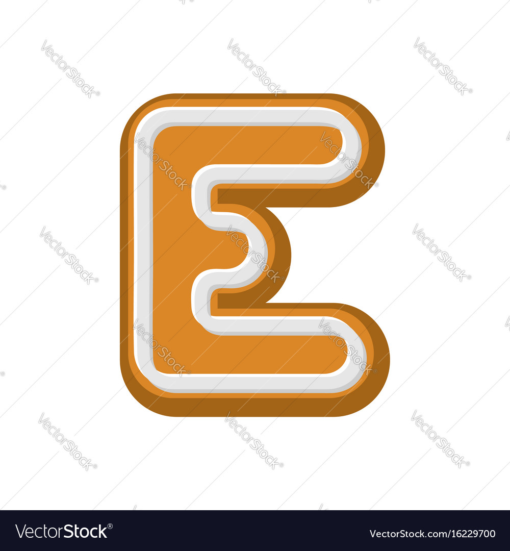 Letter e gingerbread peppermint honey-cake font vector image