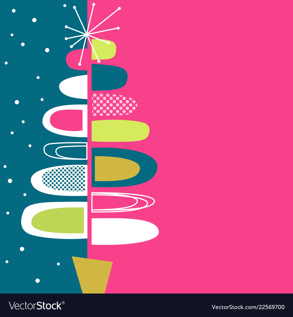 Midcentury modern abstract christmas tree design