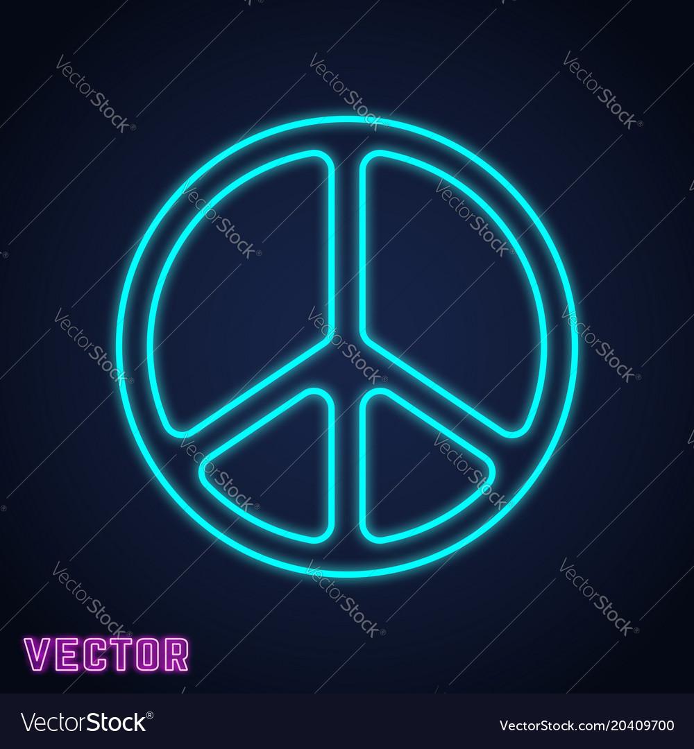 Peace symbol neon light design