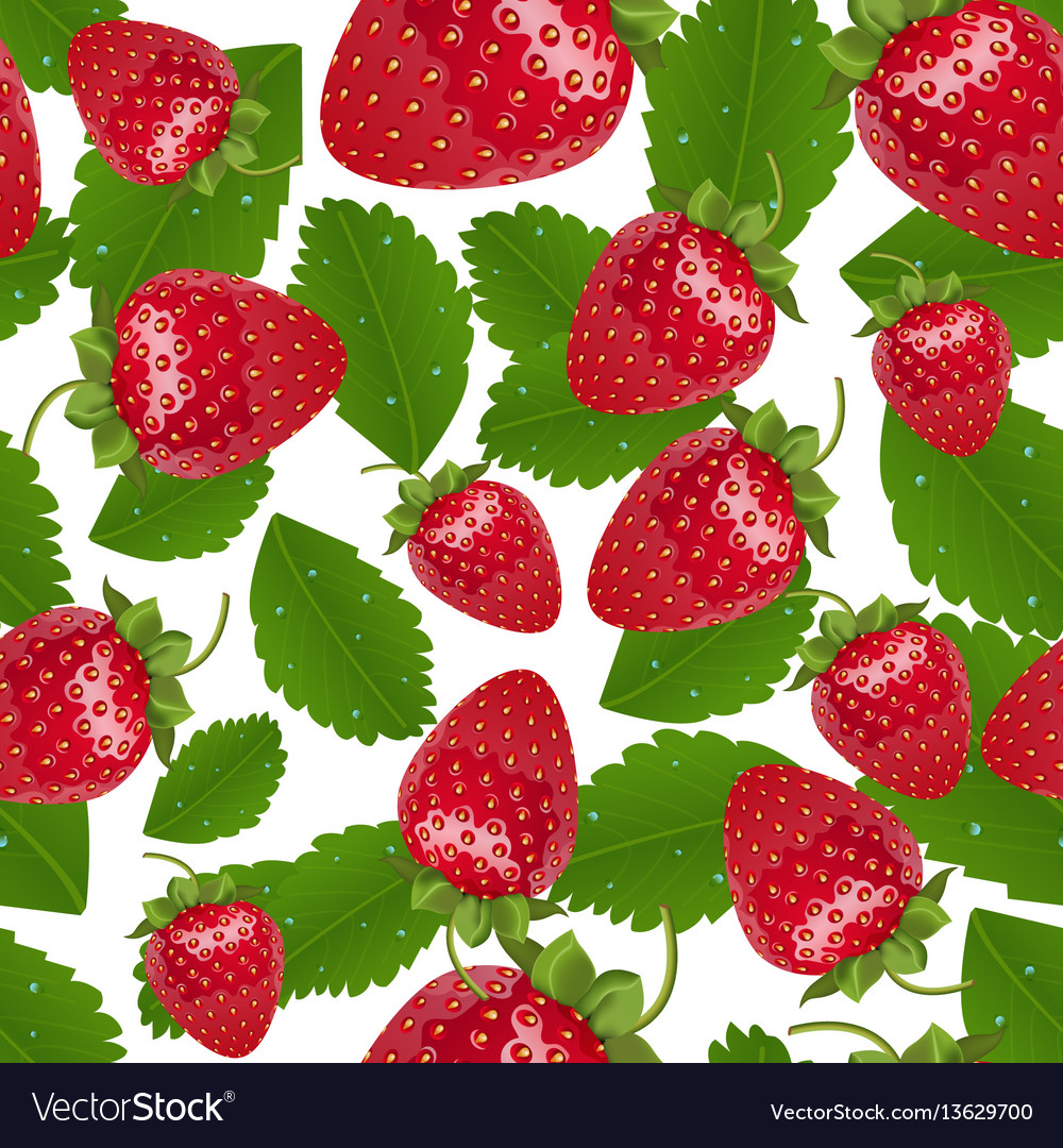 Seamless strawberries pattern vector image
