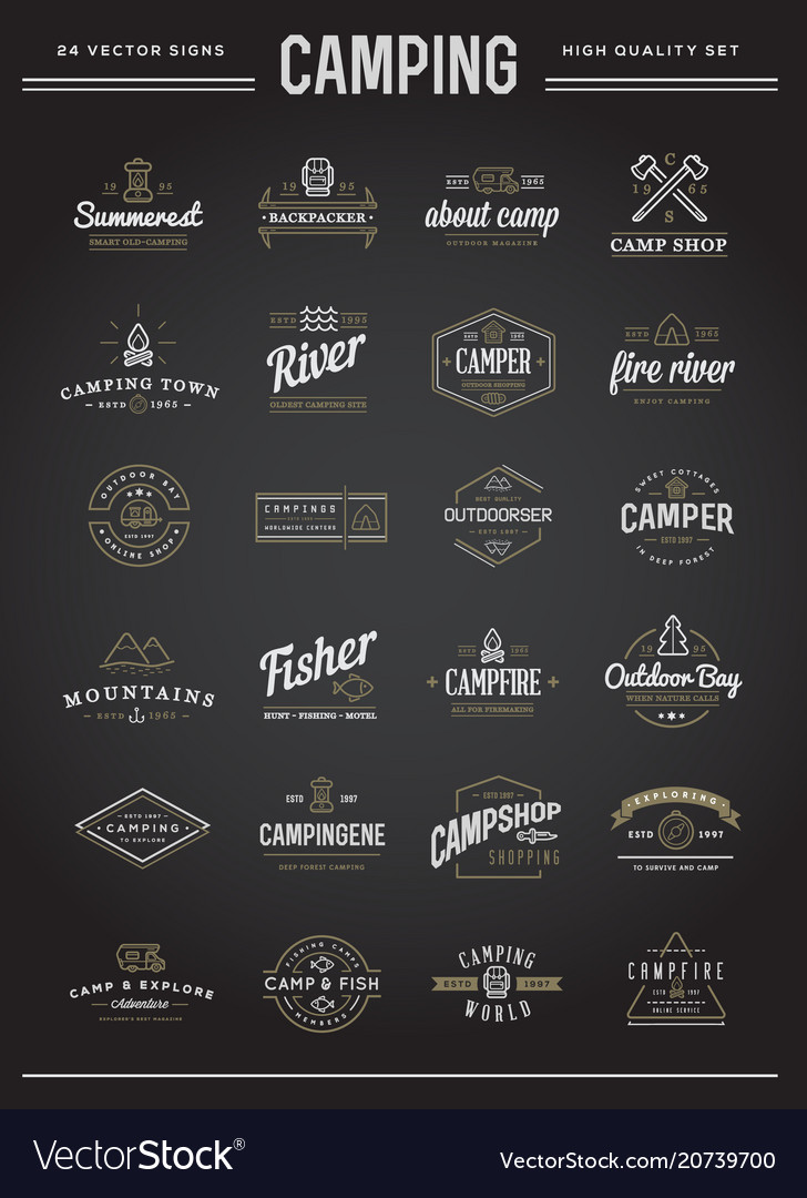 Set of camping camp elements with fictitious