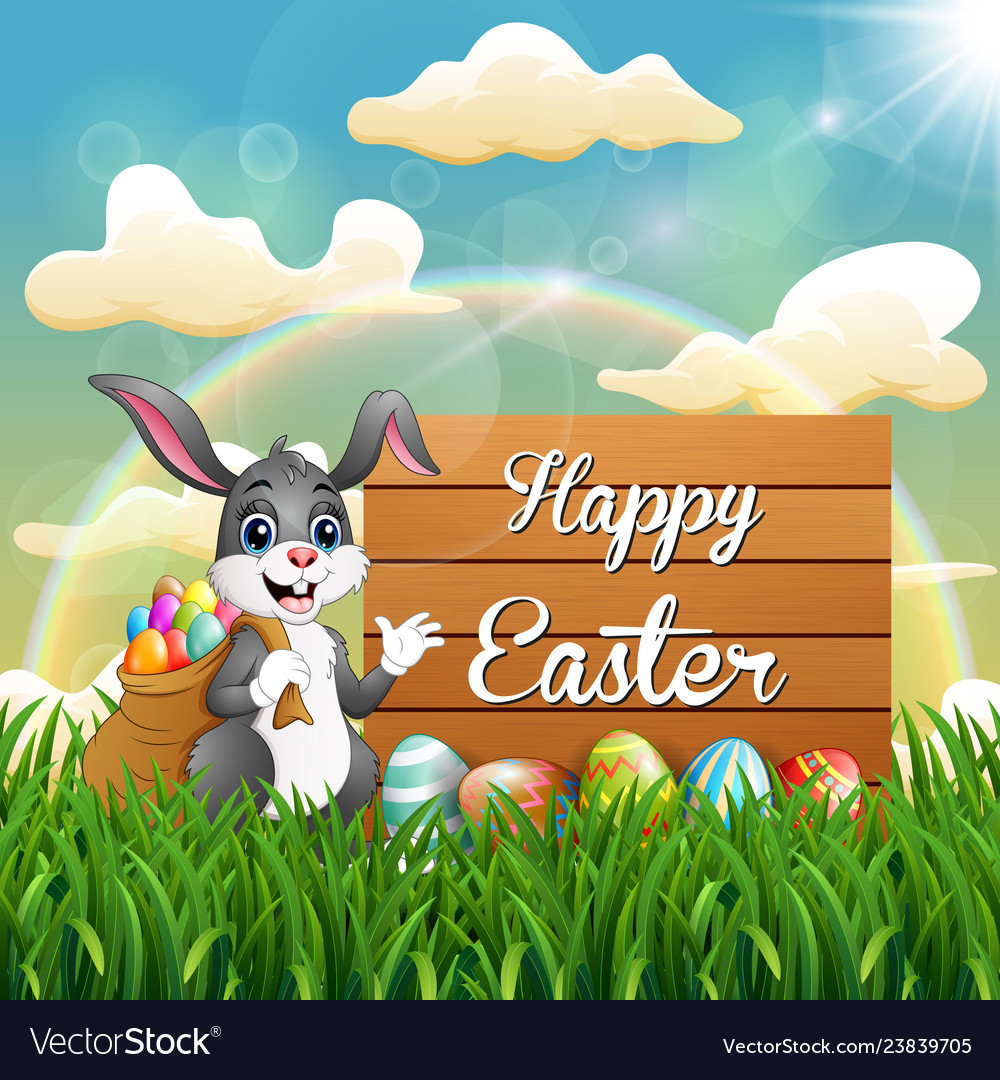 Cartoon easter bunny with a sack of easter eggs ne