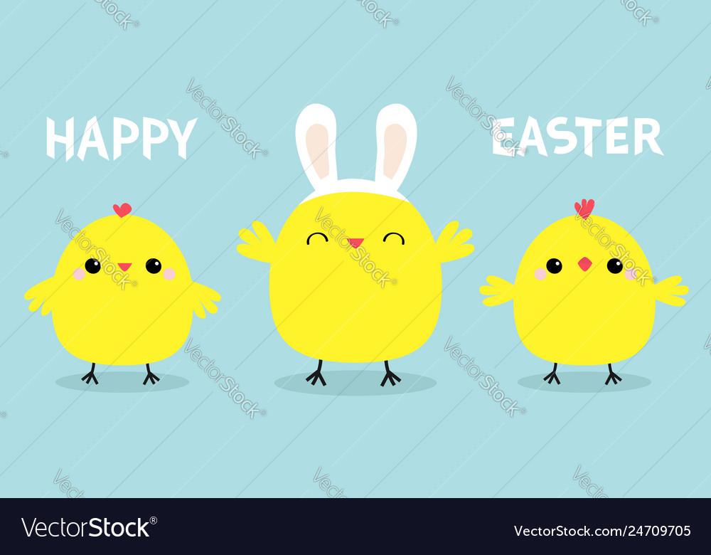 Happy easter chicken bird set line face head