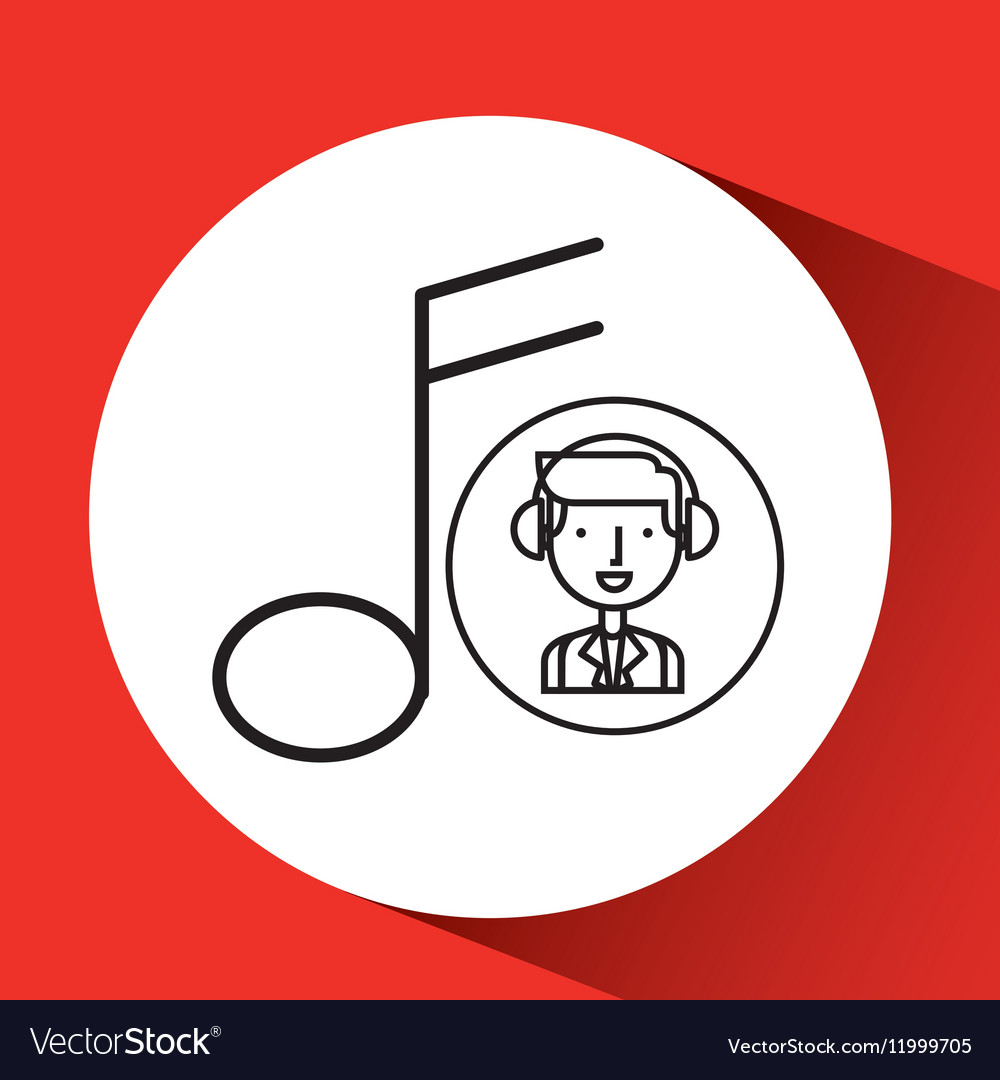 Man hand drawing listening music vector image