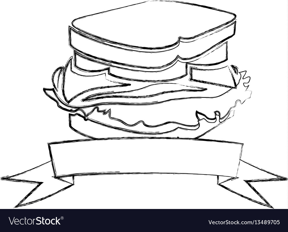 Monochrome blurred contour of sandwich with ribbon