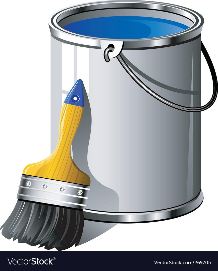 Paint brush and bucket