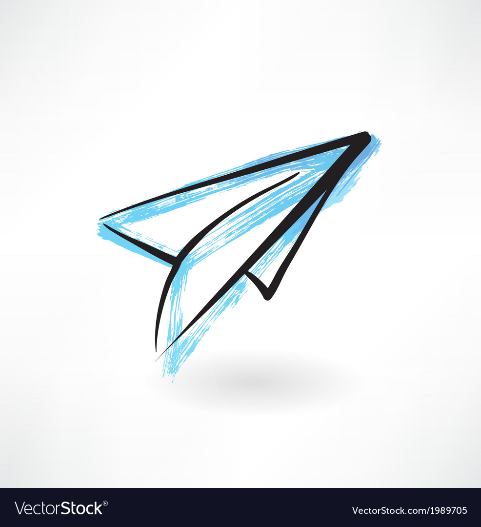 Paper airplane grunge icon