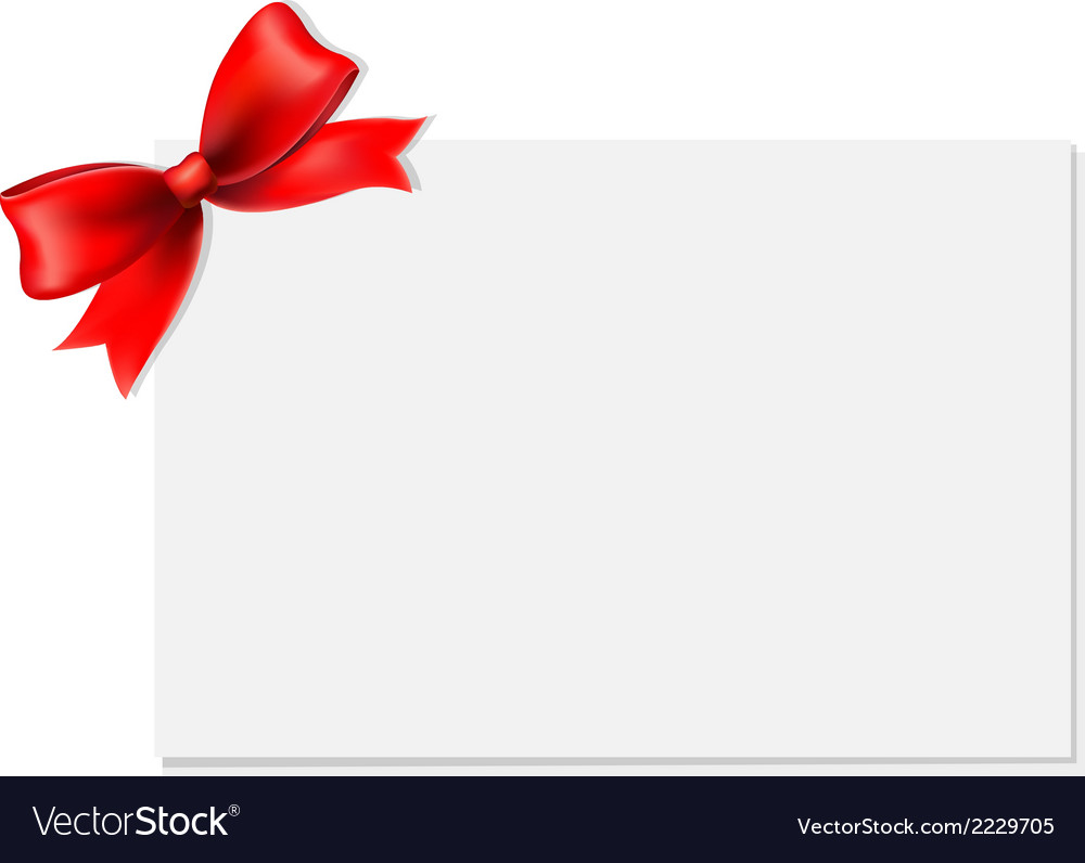 red bow and blank gift tag royalty free vector image