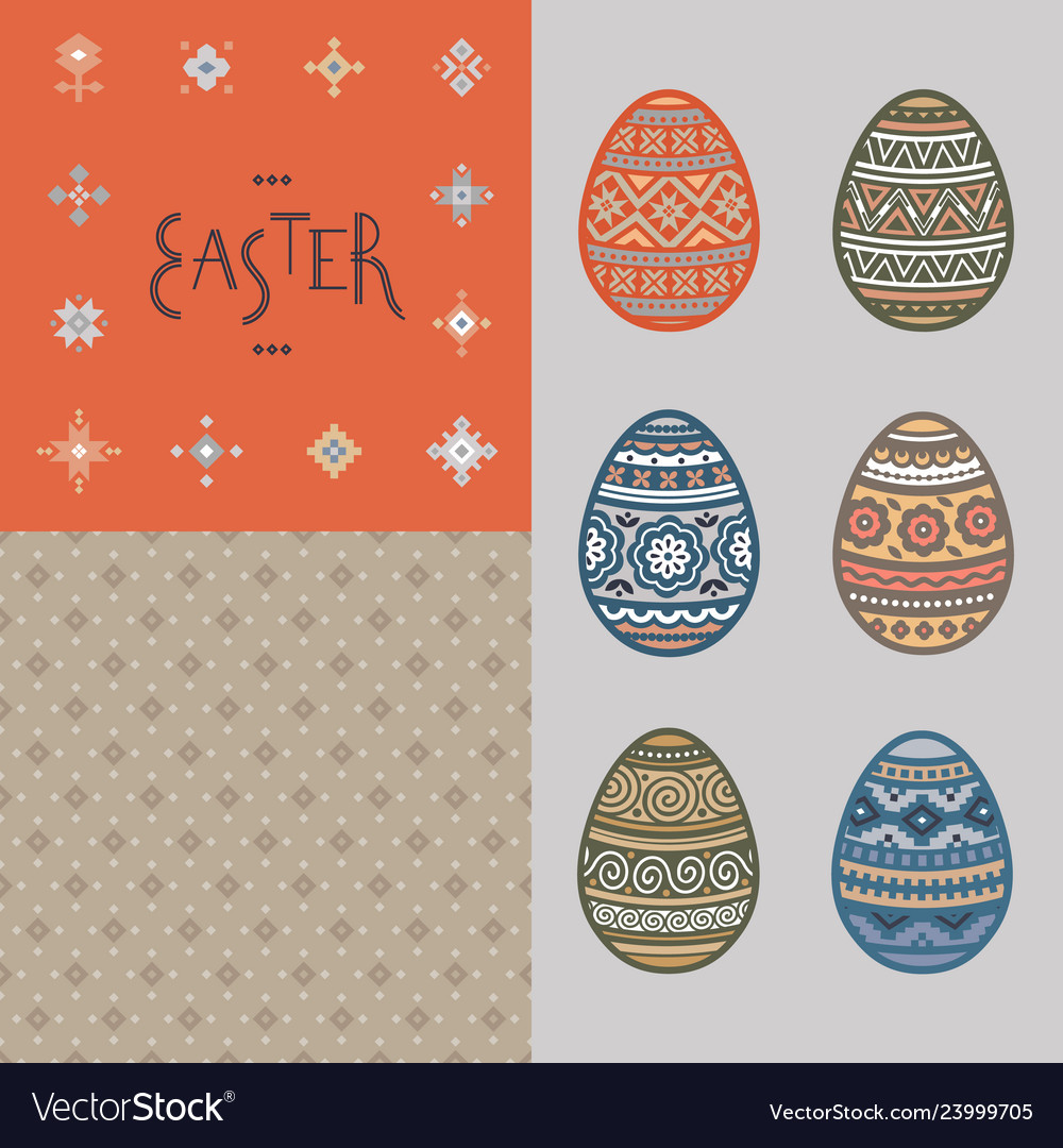 Seamless pattern lettering and colorful easter