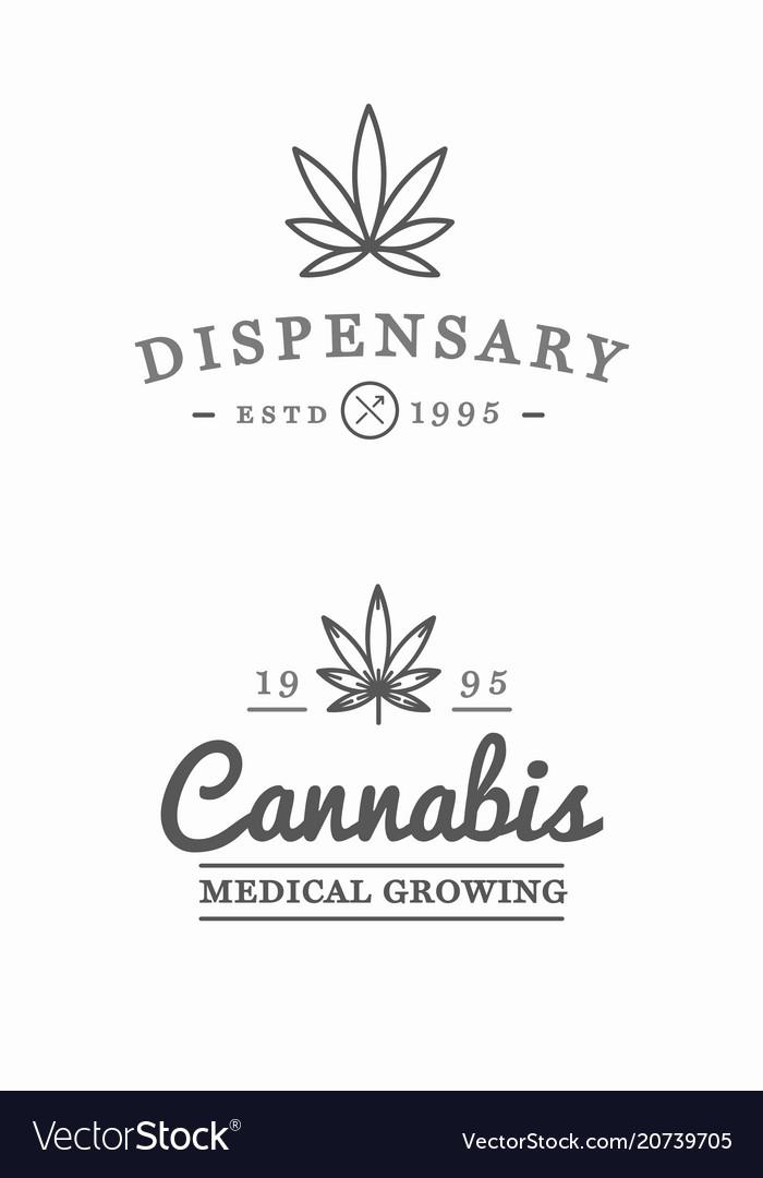 Set medical cannabis marijuana sign or label