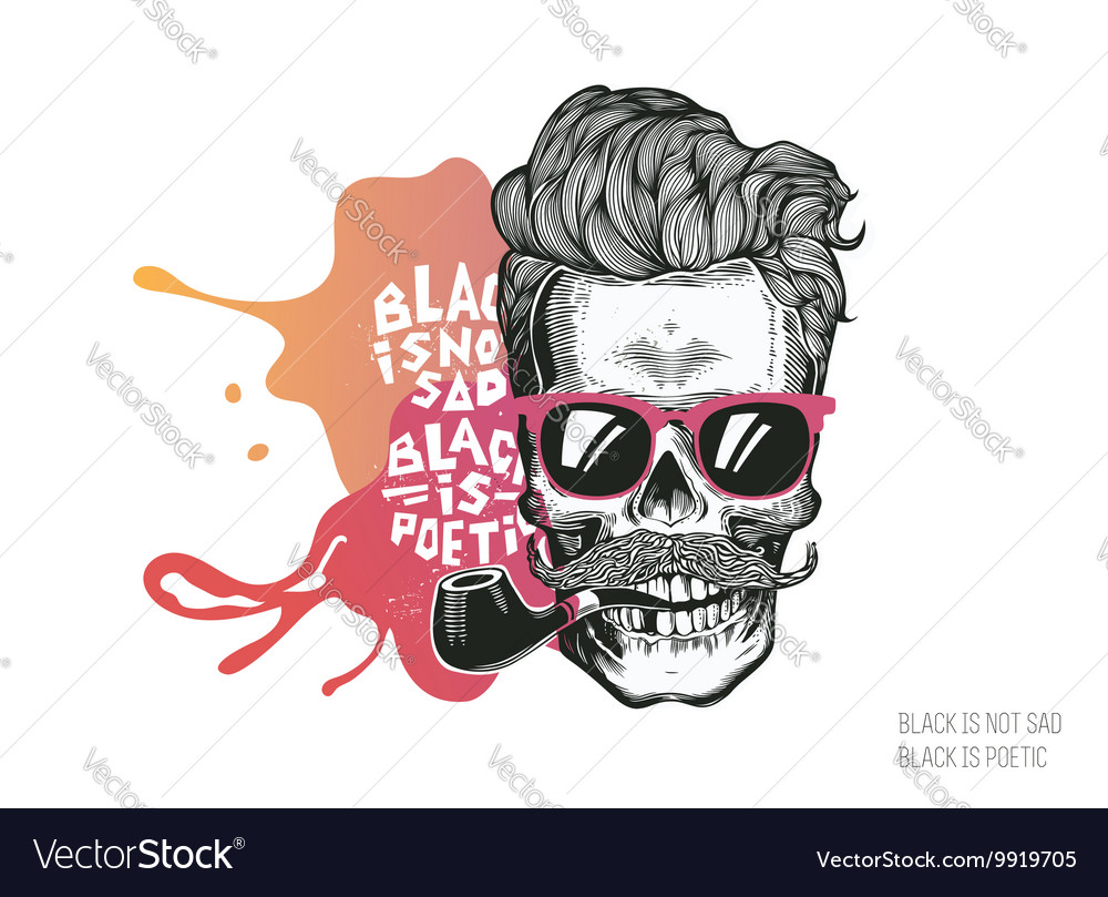 Skull Hipster silhouette with mustache glasses
