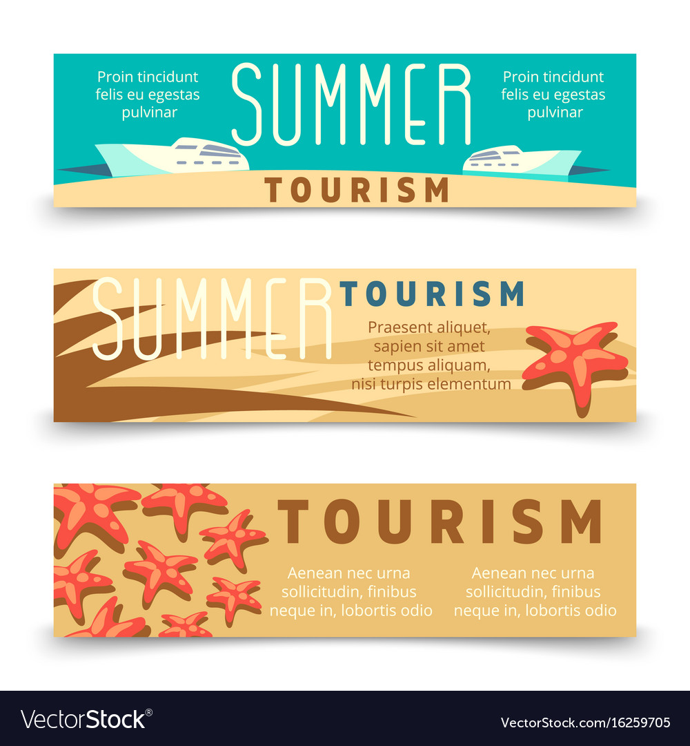 Summer tourism banner template with yacht and