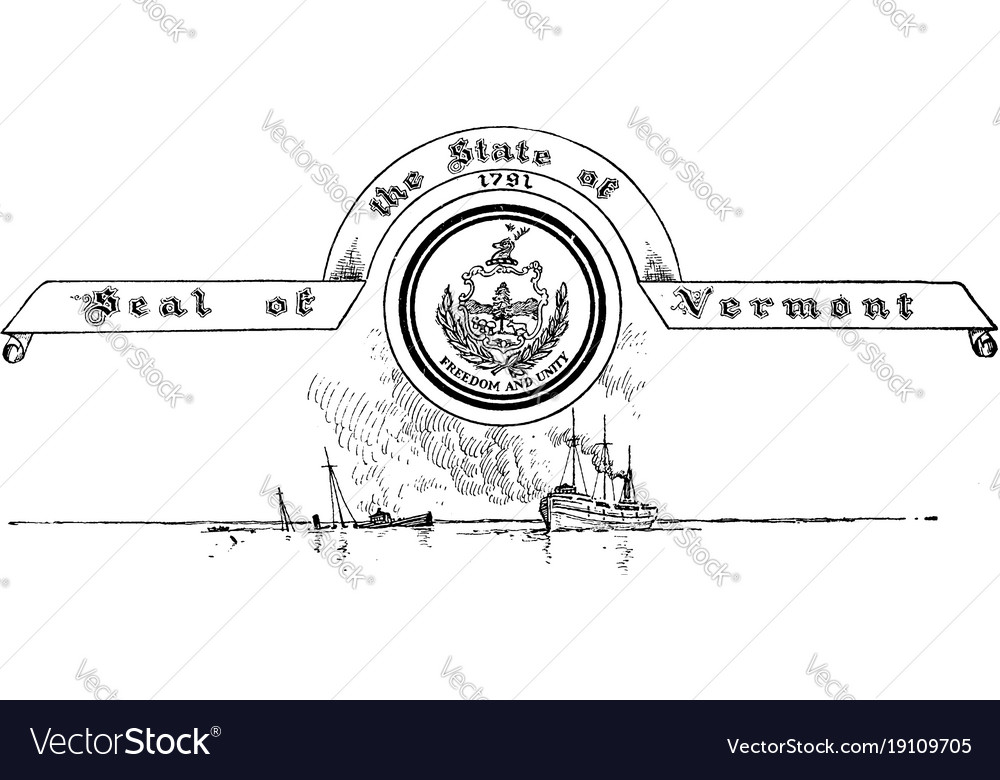 The united states seal of vermont vintage