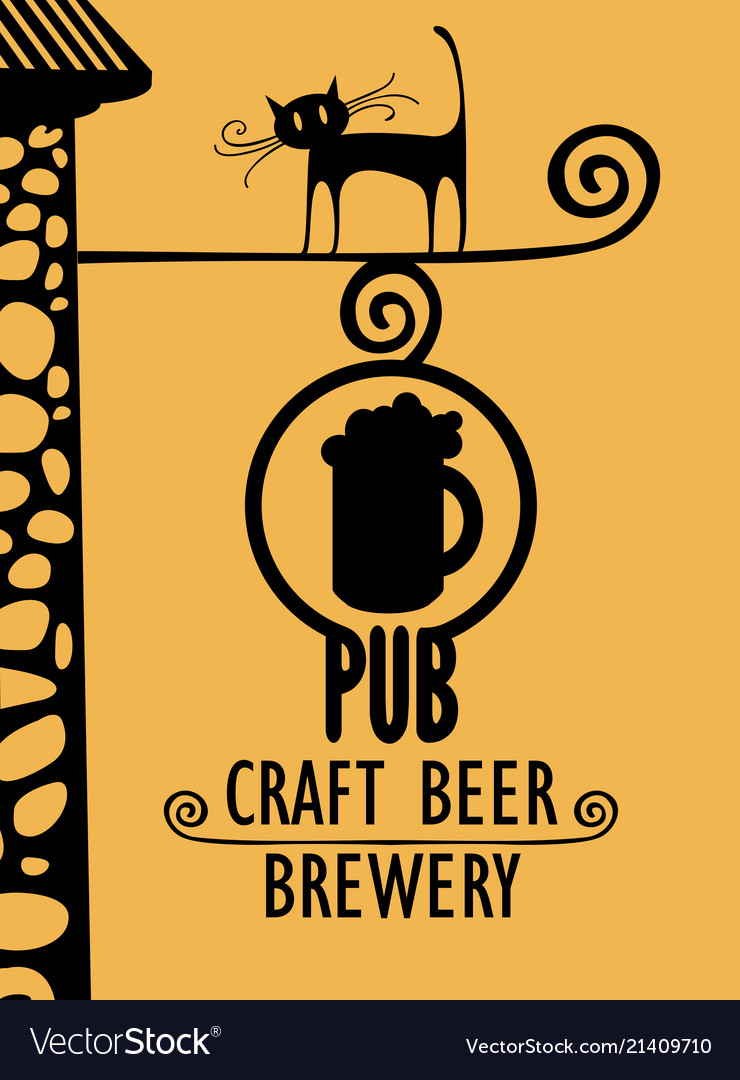 Banner for beer pub with street sign and black cat