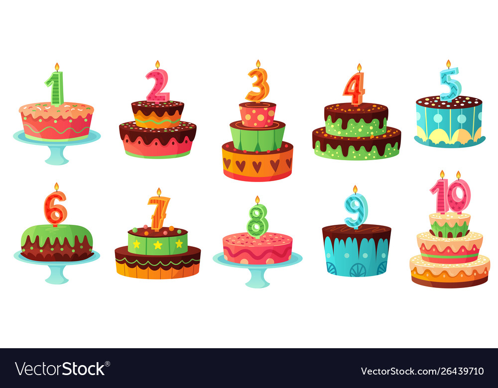Terrific Cartoon Birthday Cake Numbers Candle Anniversary Vector Image Funny Birthday Cards Online Inifodamsfinfo