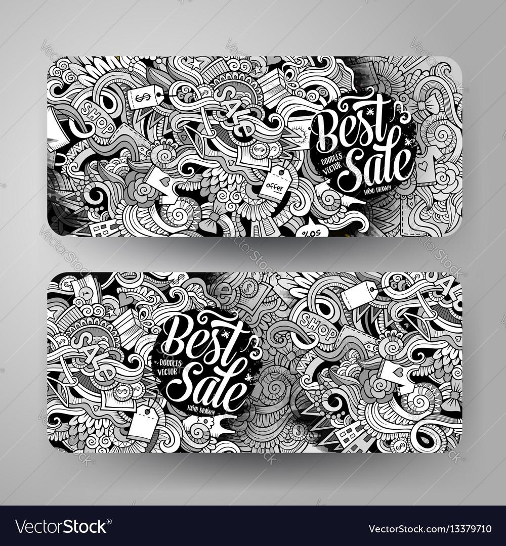 Cartoon hand drawn doodles sale banners