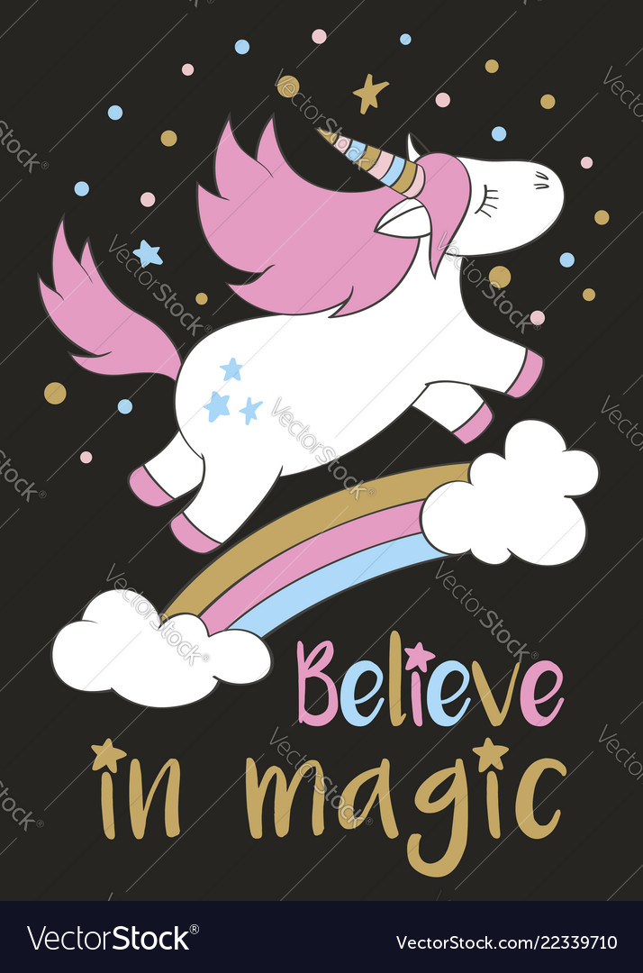 Cute unicorn in cartoon style with hand lettering