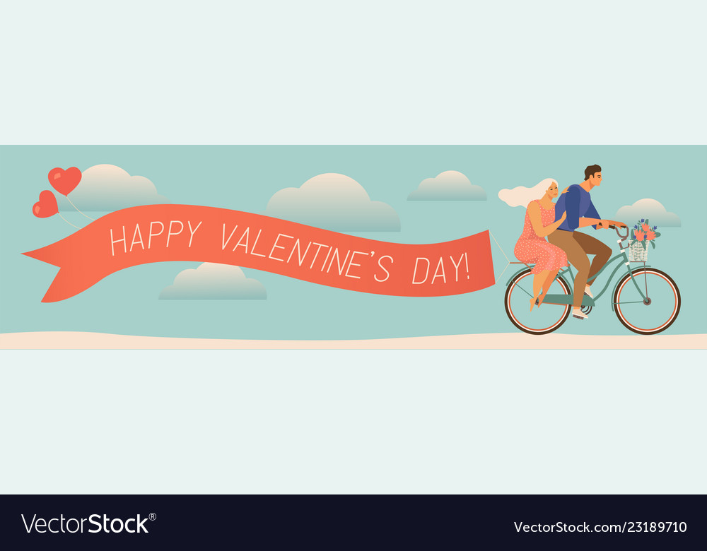 Happy couple is riding a bicycle together and