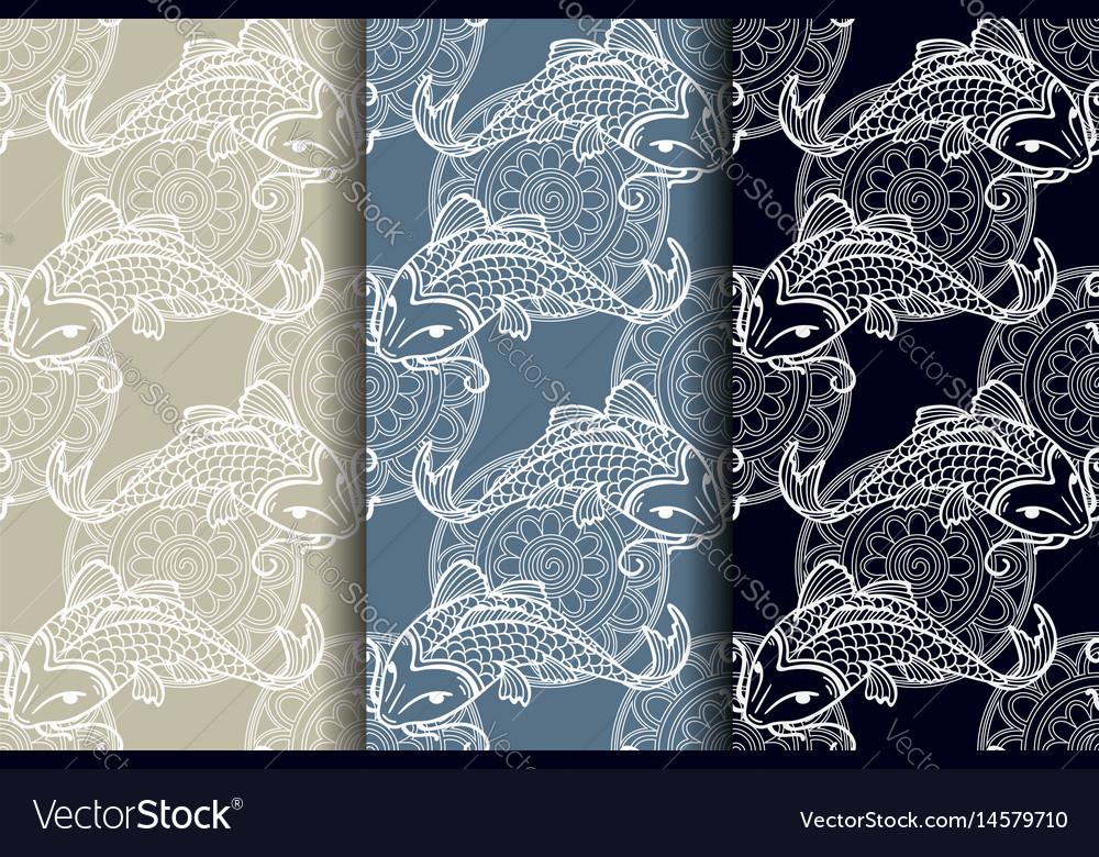 Koi carps seamless texture vector image