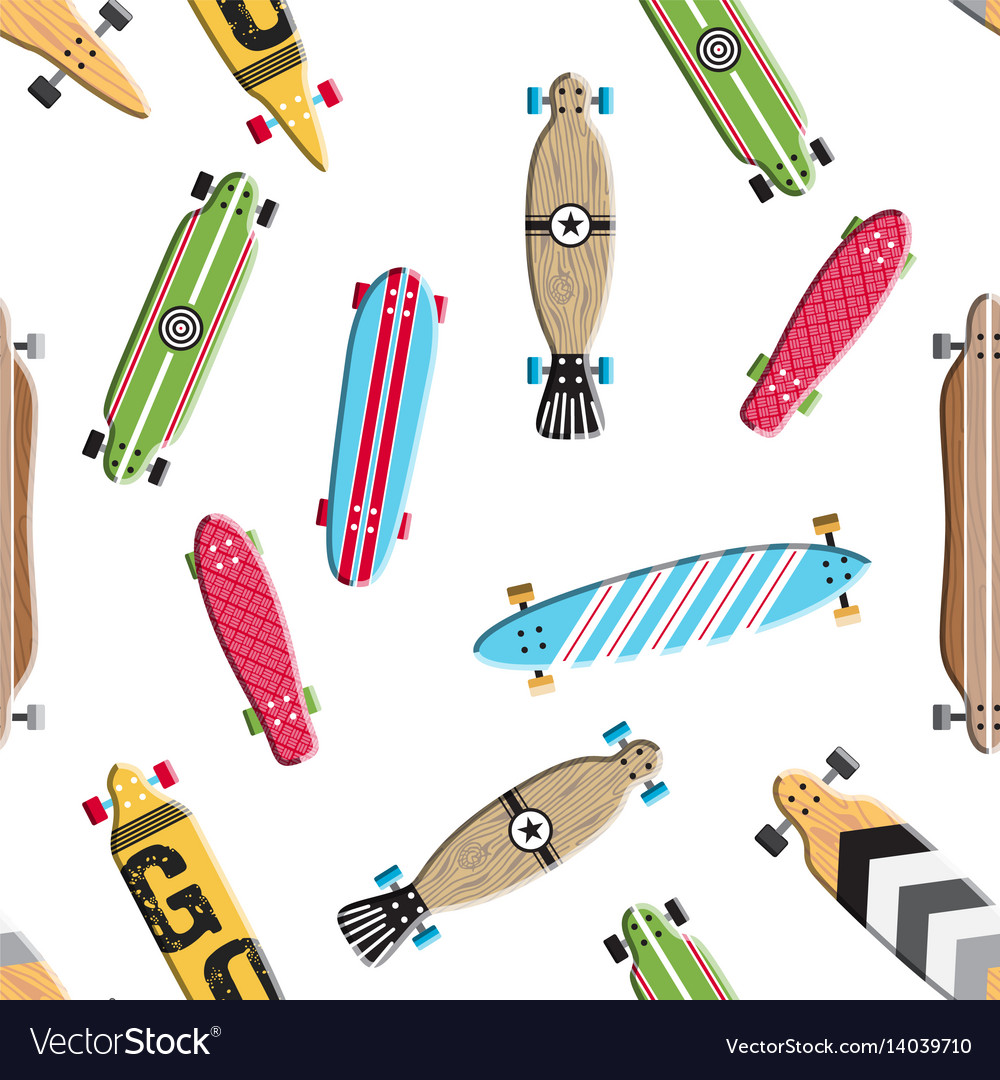 Seamless pattern skateboard and longboards