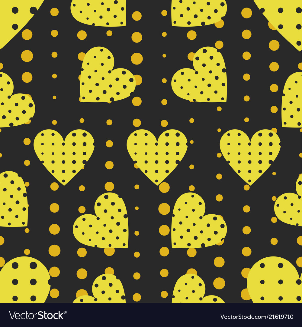 Seamless pattern with hearts and dots in a pop