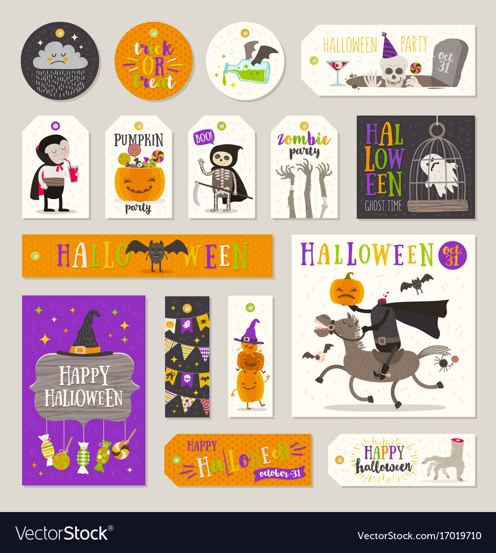 set of halloween gift tags and labels royalty free vector