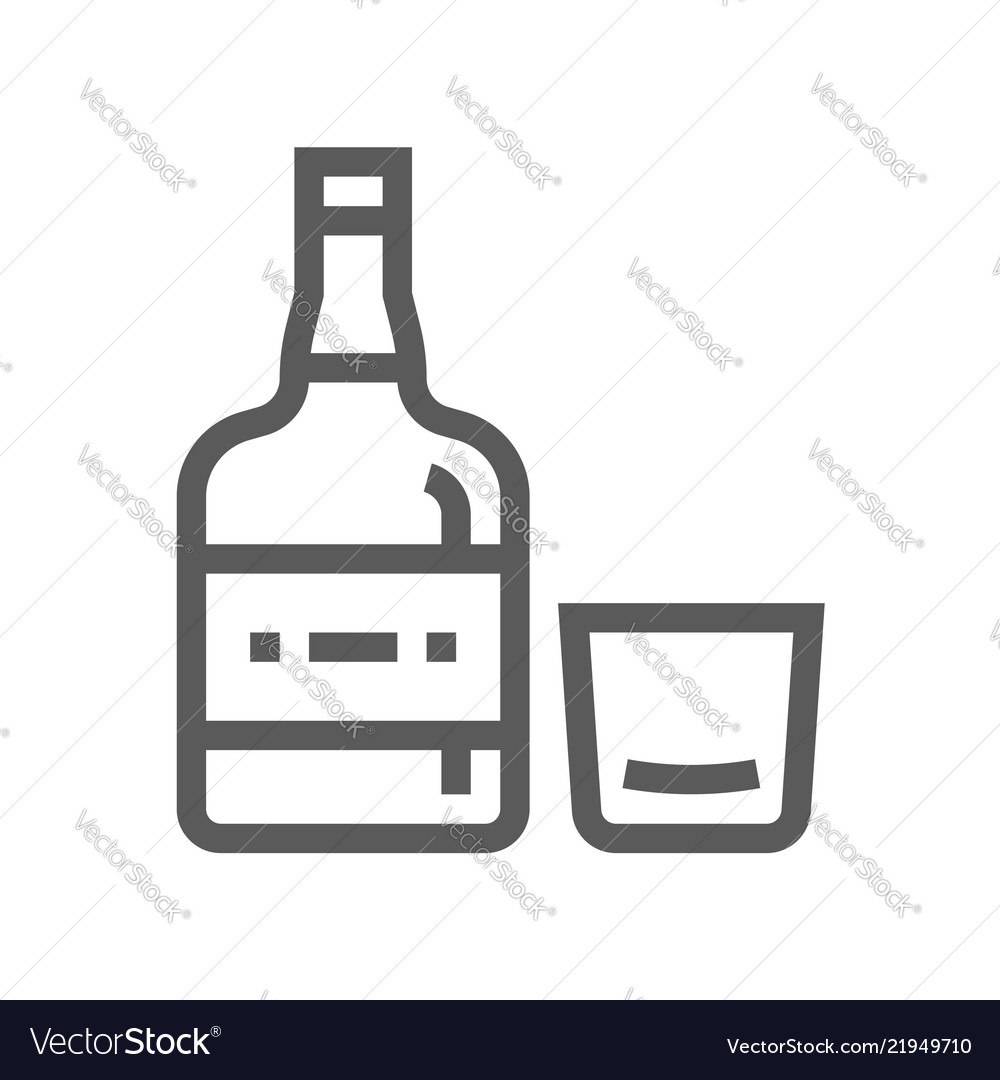 Whiskey drink and beverage line icon