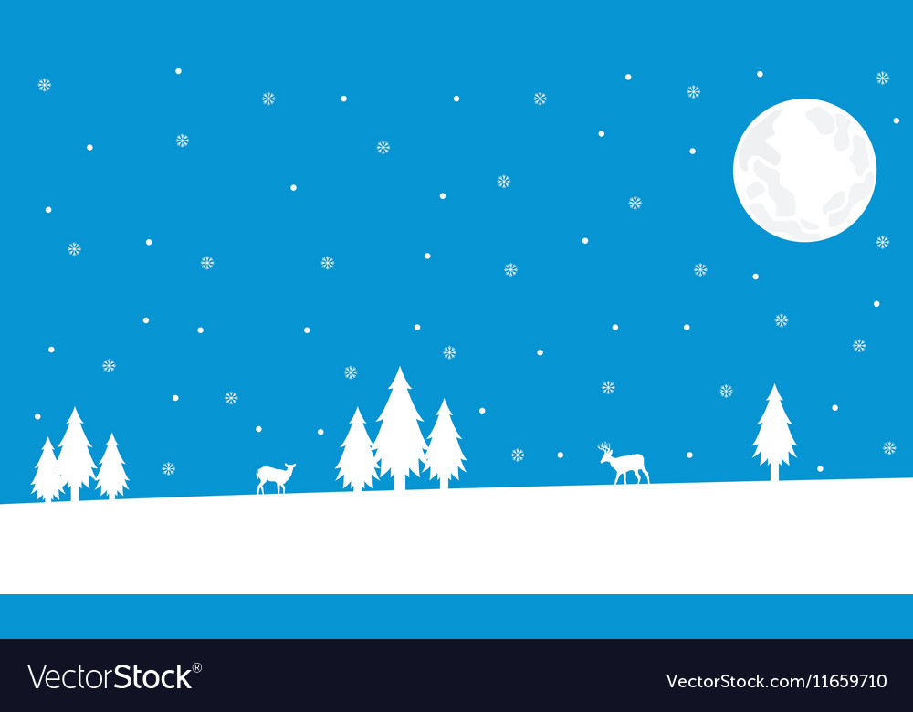 Winter deer and spruce Christmas landscape