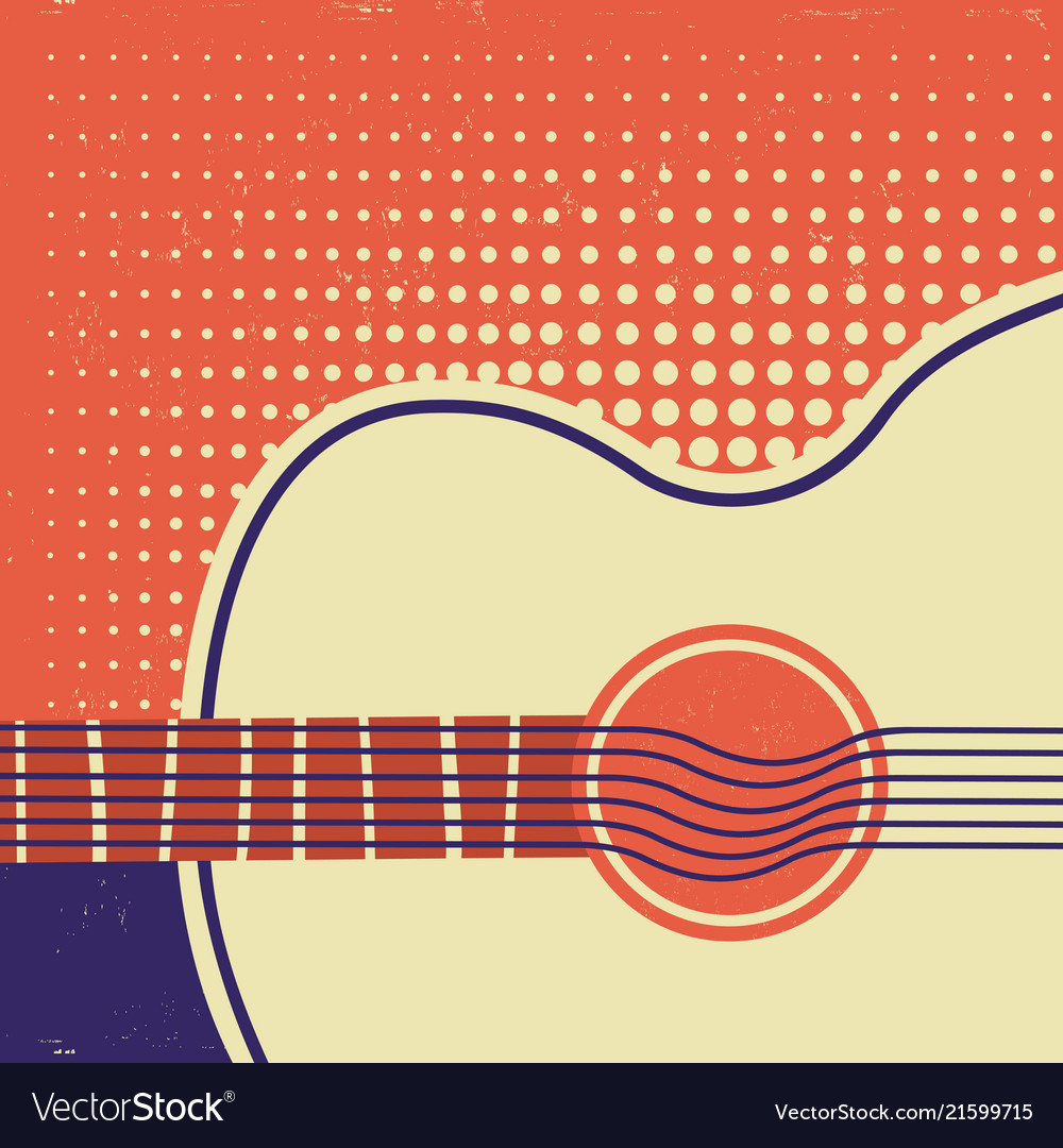Acoustic guitar on old paper retro poster