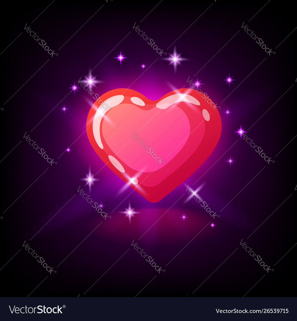 Bright pink glossy heart with sparkles slot icon