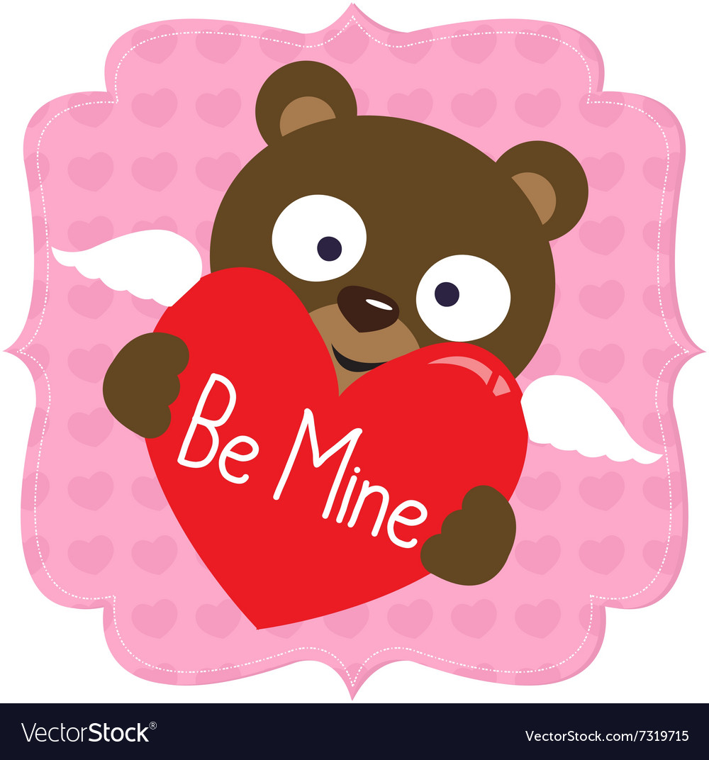 Cute Valentine bear vector image