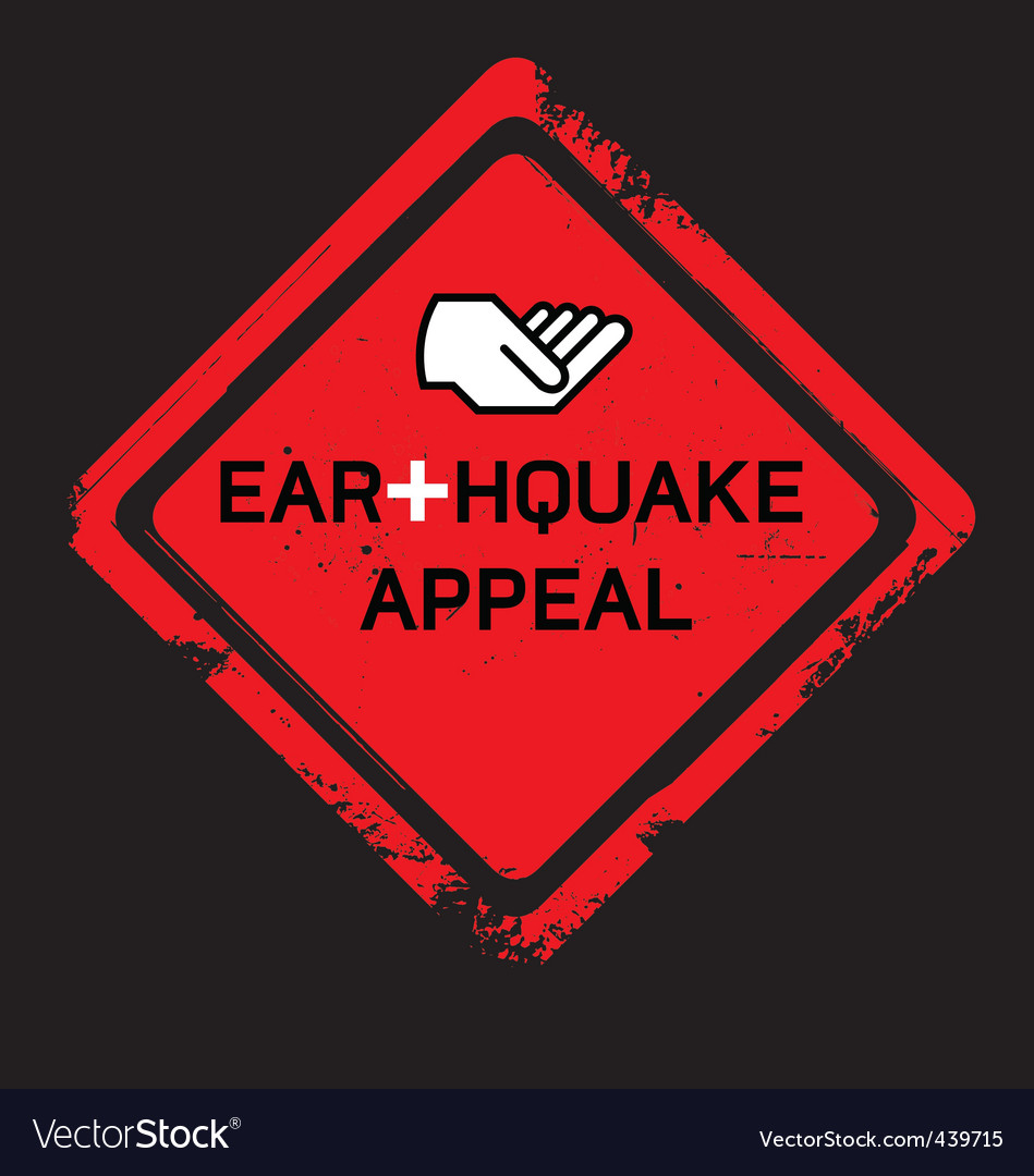Earthquake appeal sign