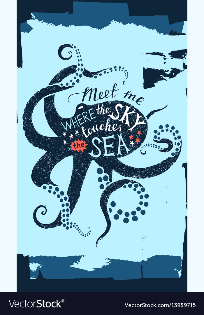 Hand drawn lettering in octopus silhouette