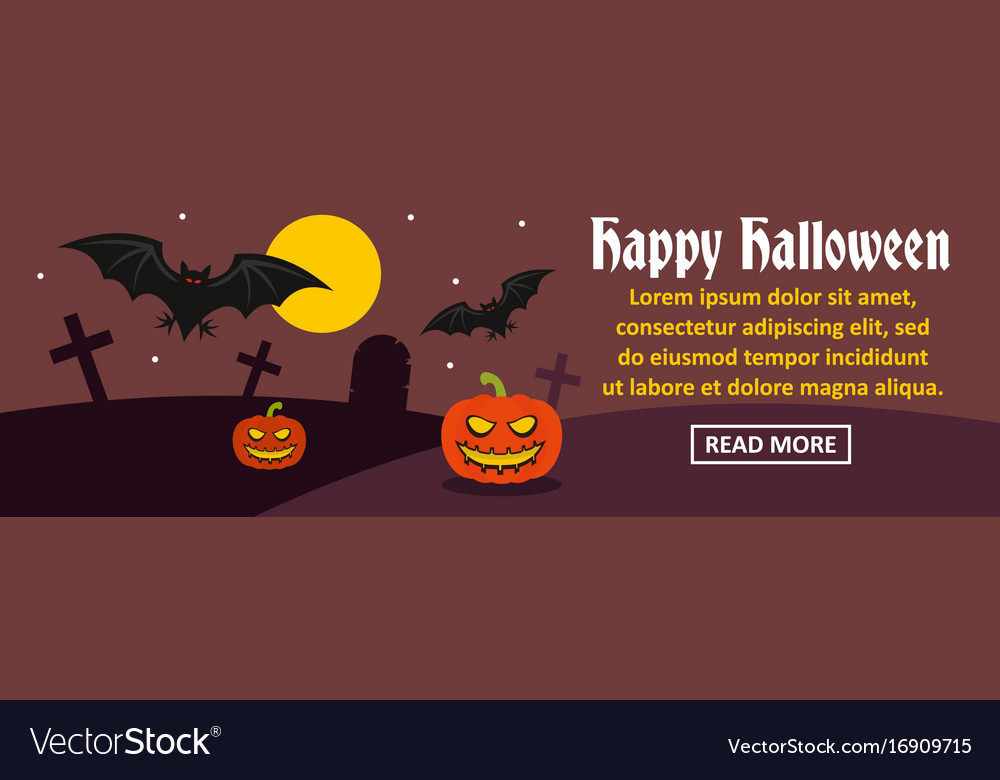 Happy halloween banner horizontal concept