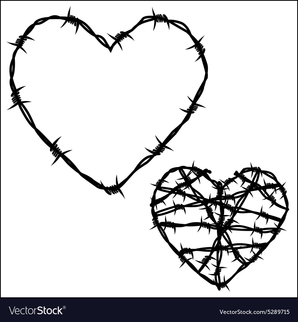 Heart of barbed wire Royalty Free Vector Image