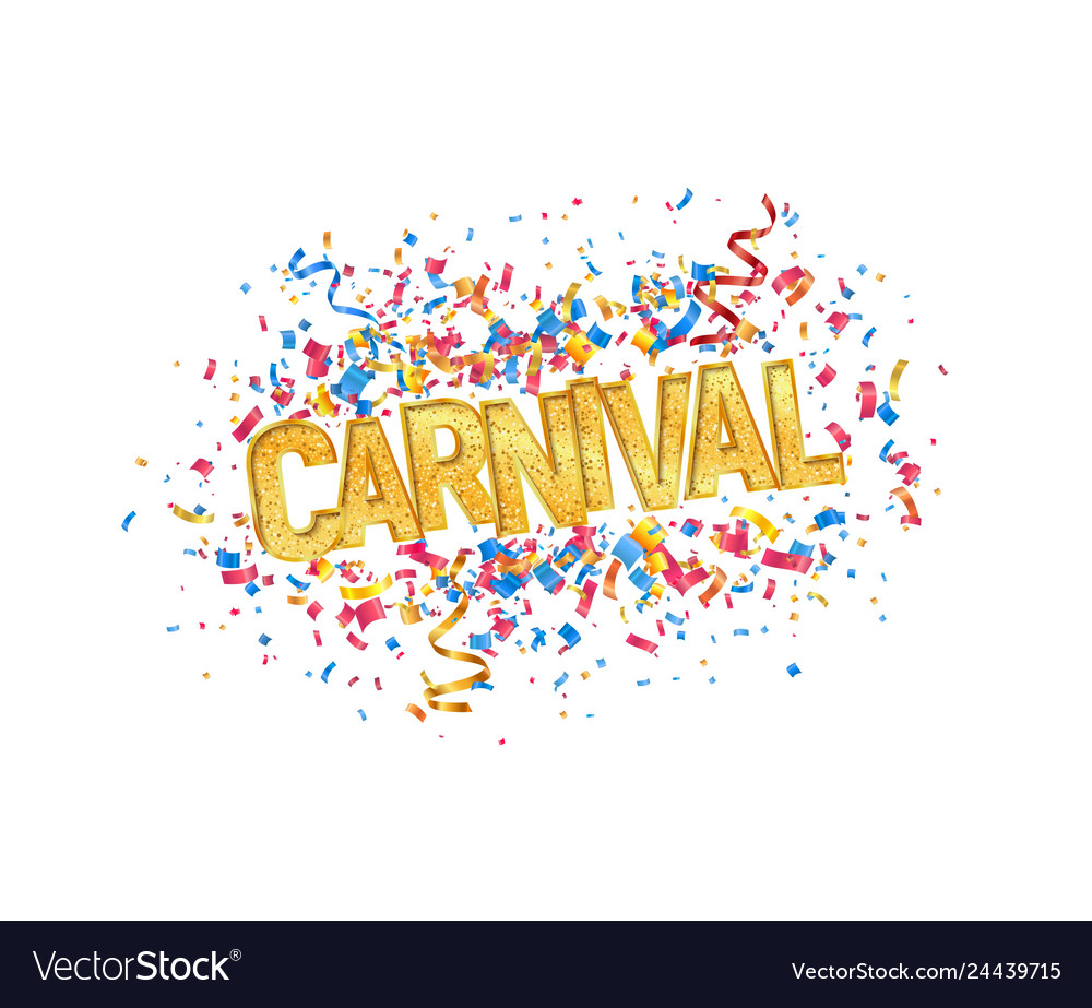 Isolated carnival golden word and colorful