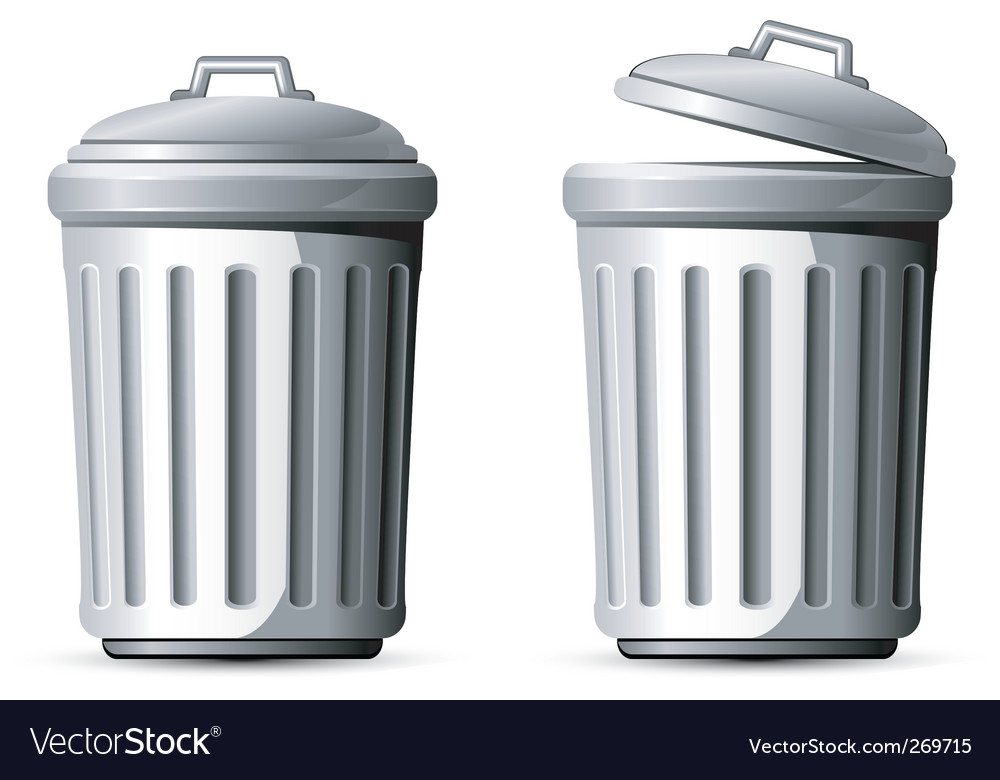 Metal Trash Can Vector Image