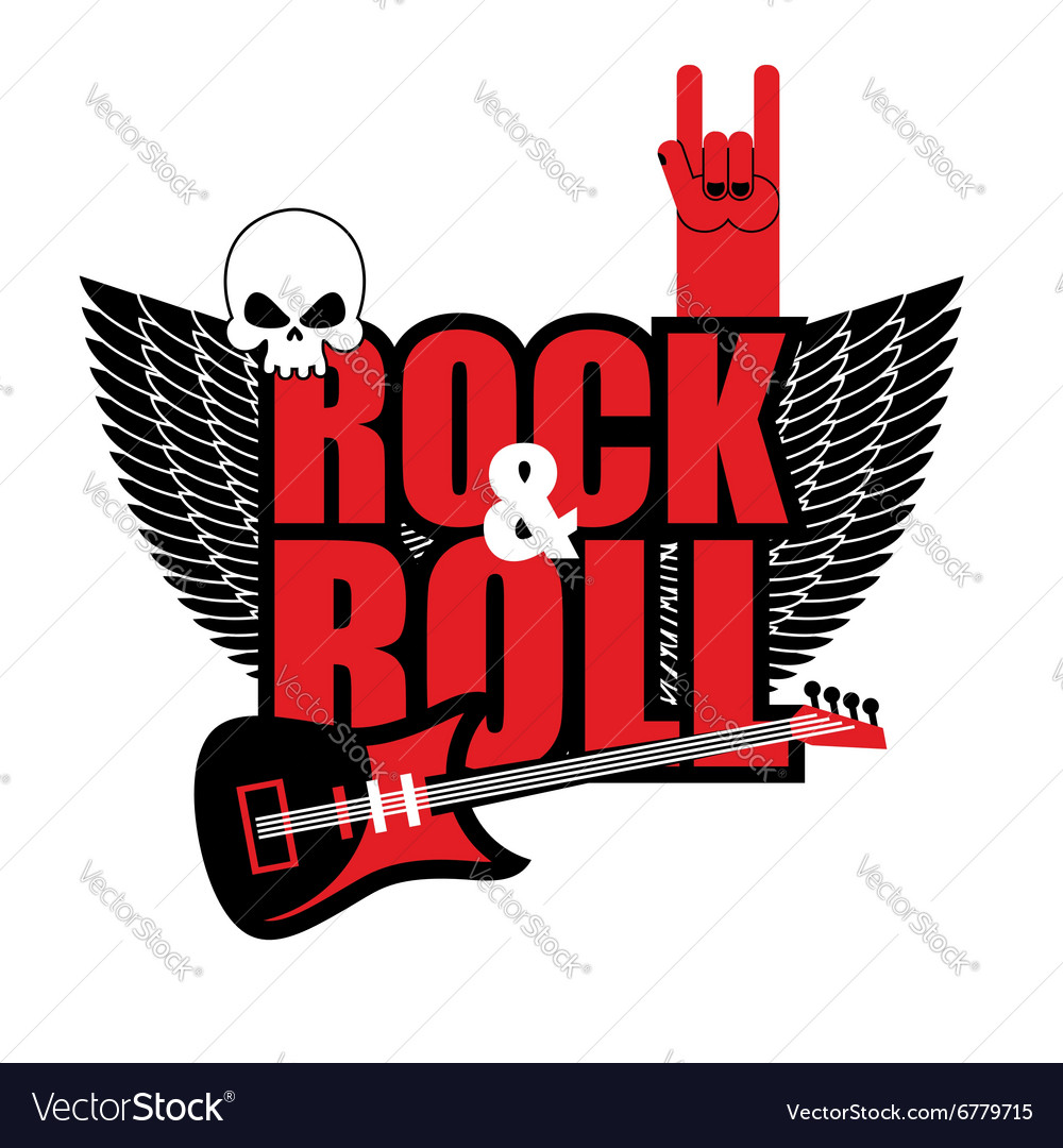 Rock and roll logo Electric guitar and skull Logo