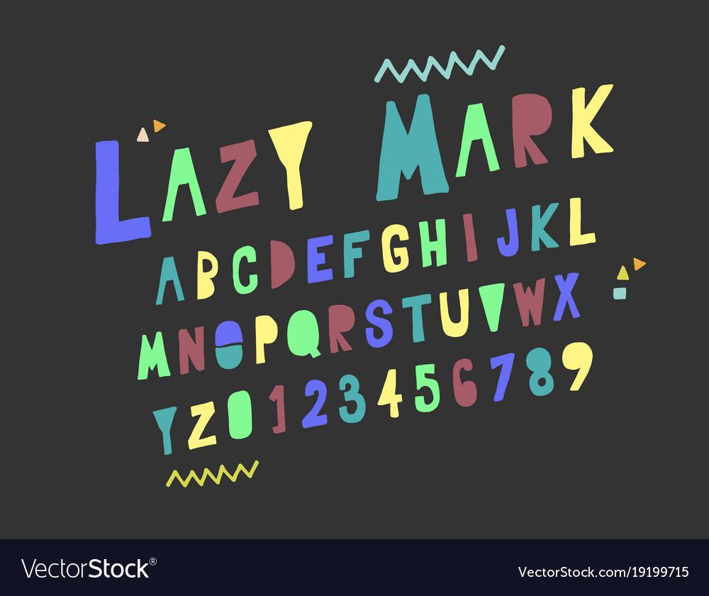 Set alphabets cute colorful english alphabet